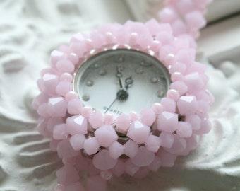 Swarovski Crystal Beaded Watch (Mat Pink)