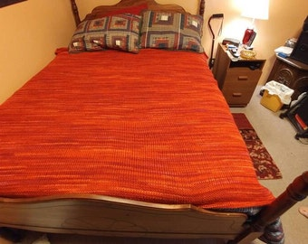 Chili red/ orange supersized loomed afghan blanket