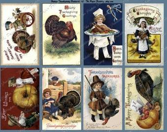 Vintage Thanksgiving Post Cards No. 2 Digital Collage Sheet