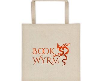 Writer Bag - Book Wyrm Red Dragon Tote bag - Reader Gift - Writer Gift - Book Bag