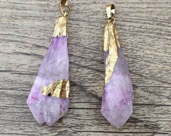 Titanium Light Purple AB Quartz Crystal Pendant Necklace Raw Crystal Jewelry Titanium Quartz Spike Pendant Rhinestone Jewelry Pendant-TR141