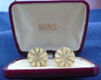1960's Diamond Cut Round Cufflinks