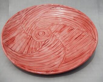 Pottery Platter - Large Ceramic Platter - Red Glazed Hand Carved Serving Dish
