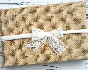 Ivory Lace Bow Headband - Ivory Lace Headband - Ivory Bow Headband - Baby Ivory Headband - Ivory Nylon Headband