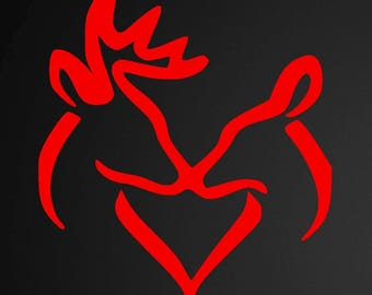 Deer Heart, Buck and Doe Heart Vinyl Decal