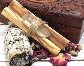 Crystal Quartz Meditation Altar Box | Smudging Sage, Palo Santo w/ Crystal Quartz Point, Moroccan Rose Buds - Gift Box Set