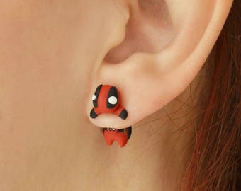 Deadpool earring. Select 1 earring or a pair (2 in ''quantity'')