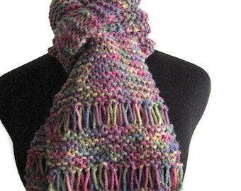 Mauve Print Hand Knit Scarf Vegan Knits Womens Scarves Winter Scarf