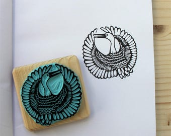 Japanese Crane stamp, hand carved, wood mounted