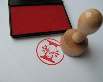 Custom stamp for Warhammer fans with inkpad included / Inquisition Skull wooden handle