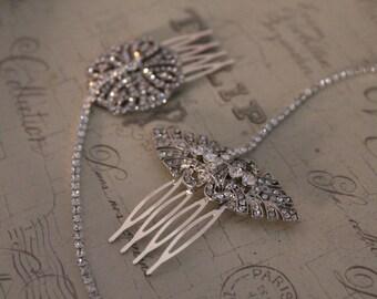 Art deco head chain - forehead jewellery - vintage headpiece , 1920s headpiece - bridal hair chain   Nouveau