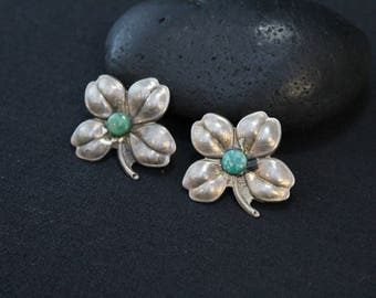 Sterling Silver and Turquoise Clover Scatter Pin Set, Four Leaf Clover Brooch, Lucky Sterling Pin, Old Pawn Turquoise Clover Brooch