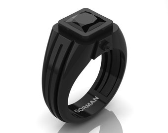 Mens Modern 14K Black Gold 2.0 Ct Princess Black Moissanite Ring G1101P-14KBGBMO
