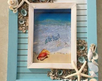 Seashell Picture Frame - Beach Decor - Beach House Decor - Sea Shell Photo Frame - Coastal Decor