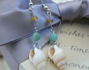 Seashell and gemstone earrings Sterling Silver accents and earwires
