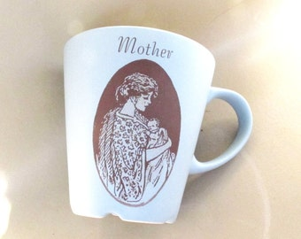 Blue Mother's Cup Upcycled Coffee Mug Ceramic - 10 Oz