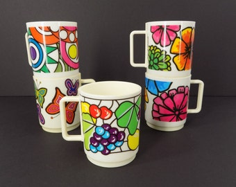 Vintage Deka Plastic Butterfly Flower Abstract Print Mugs Cups Design by Schappelli Bright Colorful