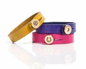 Horseshoe Bracelet, Horseshoe Jewelry, Horseshoe, Leather Bracelet, Equestrian Bracelet, Leather, Horse Jewelry, Leather Jewelry