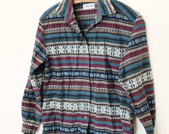 Vintage Cotton Southwest Pattern 'Cabin Creek' Shirt - Men's Medium