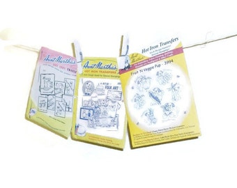 Lot 3 Packages Vintage Aunt Martha Hot Iron Transfers