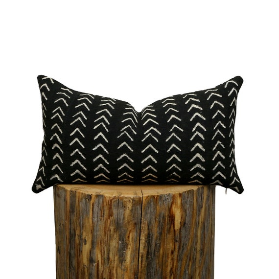 Mudcloth Lumbar Pillow Cover, African Mud Cloth, Black And Off White Small Arrows by Etsy