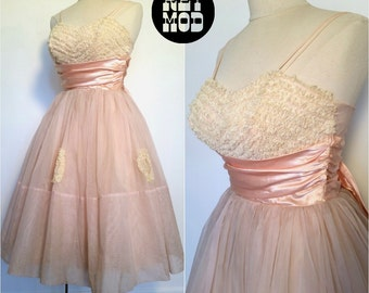 BEAUTIFUL Vintage 50s Prom Party Dress in Pastel Dusty Pink with Lace Cone Bra Top and Pink Satin Bow! STUNNING!