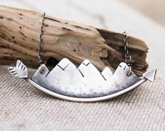 Mountain Necklace, Mountainscape, Arrow, Oxidized Silver