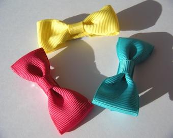 3 Colorful Hair Bows - No Slip Grip