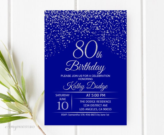 Wedding Invitations Royal Blue And Silver: 80th Birthday Invitation Royal Blue Silver Birthday