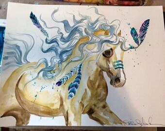 Palomino warhorse feather warpaint