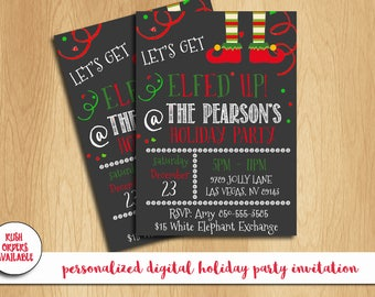 Let's Get Elfed Up Invitation / Holiday Party Invitation / Personalized Digital Invitation / Christmas Party Invitation / Digital File