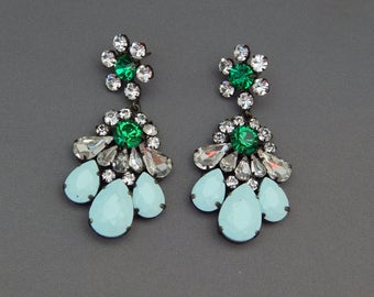 Pale Blue and Green Rhinestone Earrings, Long Dangly Earrings with Light Blue, Emerald Green and Clear Crystals, Wedding Prom Jewelry