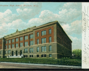 Brockton, Massachusetts Brockton High School Antique Postcard Postmarked 1907