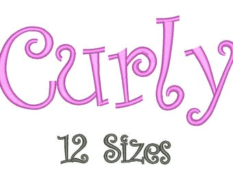 SALE** Curly Embroidery Font 12 Sizes Machine BX Embroidery Fonts Alphabets Embroidery Designs PES - Instant Download