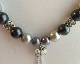 Shades of Grey Pearl Necklace with Butterfly Accents