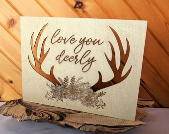 Love You Deerly Wood Canvas, Wall Art, Wood Home Decor, Country Style Farmhouse, Antlers, Wall Gallery Collage, Gift for Her, Wedding Gift