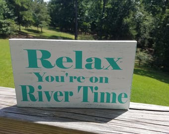 FREE SHIPPING!Wood, Rustic, Distressed, Sign, Wall Decor, River Time