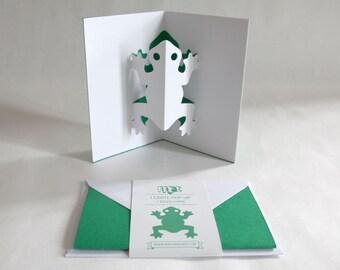 Pop-up Card // Frog Dark Green // Creative Stationery, Everyday Gift Card, Birthday Card, Greeting Card, Decorative Card