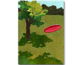 Frisbee Toss - Summer Party Invitation - Frisbee Golf  Sports Card - Retro Art CARD or PRINT - Great Gift (CMEM2013086)