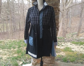 UPcycled Black Gray and Slate Blue Long boho Tunic Womens Size M refashioned recycled repurposed shabby hippie prairie style country shirt