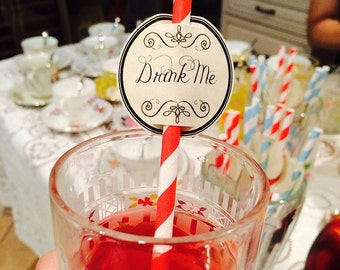 Alice in Wonderland Tea Party 24 Drink Me Straw Topper