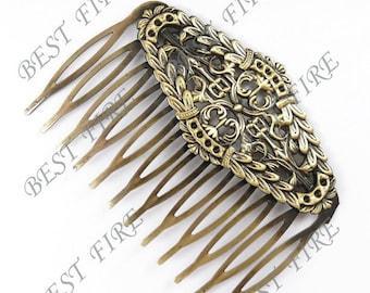 2 pcs of Antique Brass bobby pins Hair Comb pad 50x65 mm