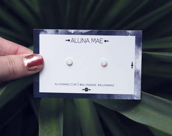 ORLA. Sterling Silver White Opal Stud Earrings