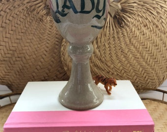 Stoneware Pottery Wine Goblet Lady