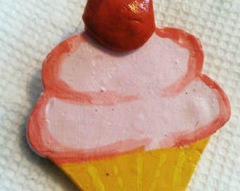 Pink Cherry Cupcake Pin