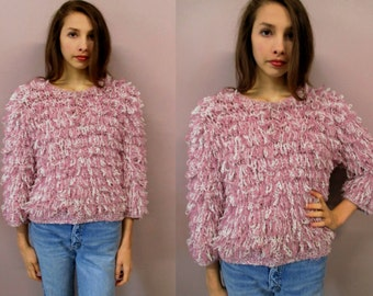 Vintage 90s Shaggy Sweater//80s/90s pink shaggy looped knit sweater cropped puffy shirt