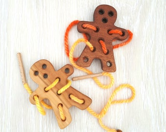 Wooden Lacing Toy, Wooden ginger bread toy, Toddler Toy, Educational Toy, Sewing cookie Toy, Learning toys, Threading Toy, Motor Skills toy