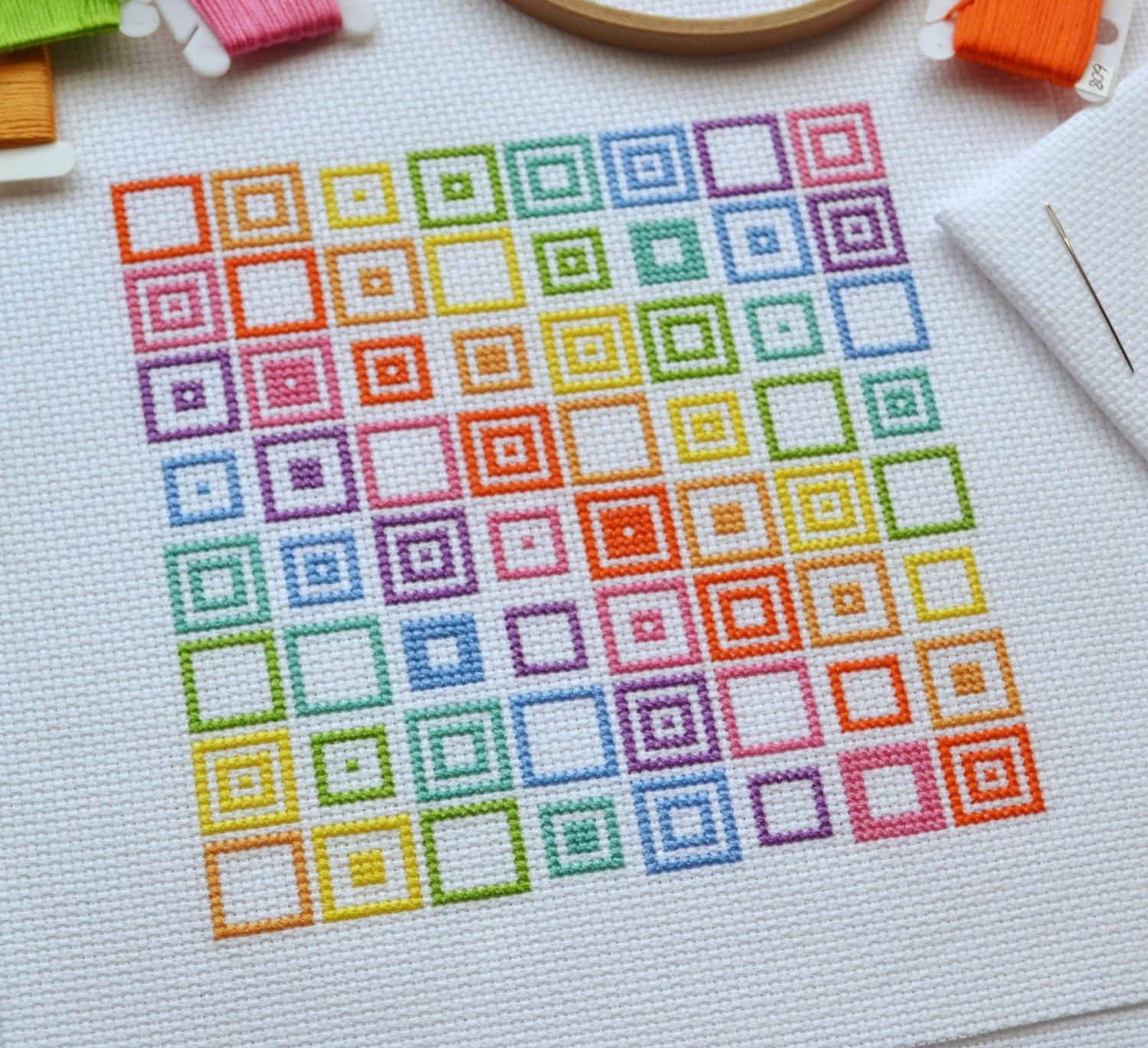 Pattern geometric squares cross stitch chart quick and easy zoom geenschuldenfo Images