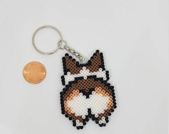 8bit Pixel Art   Corgi Booty Keychain