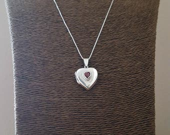 Sterling Silver Antique Style Photo Locket - Garnet Heart Photo Locket  - holds 2 photos